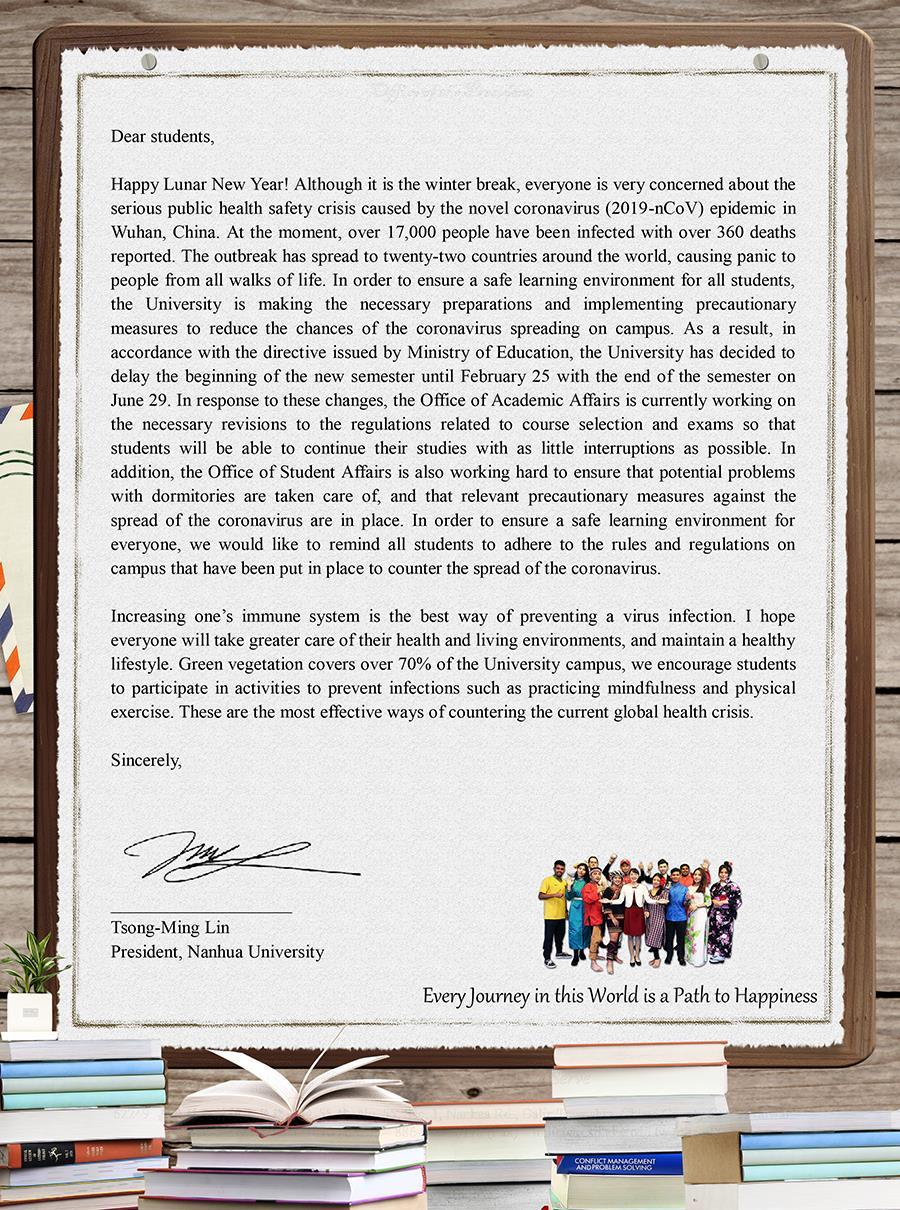 Letter from President Lin